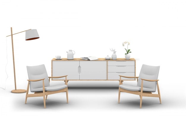アームチェア、ランプ、サイドボード付きのスタジオ家具の3 dレンダリング Premium Psd