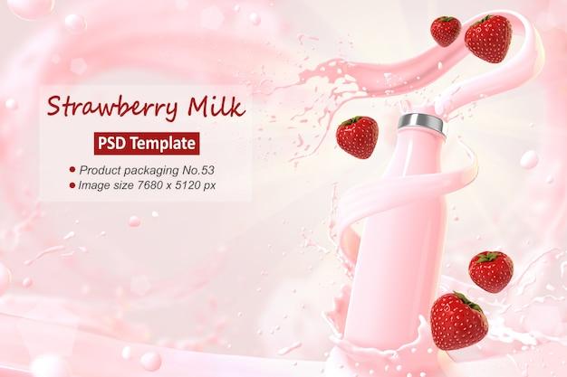 ストロベリーミルクの背景テンプレート3 dレンダリング Premium Psd