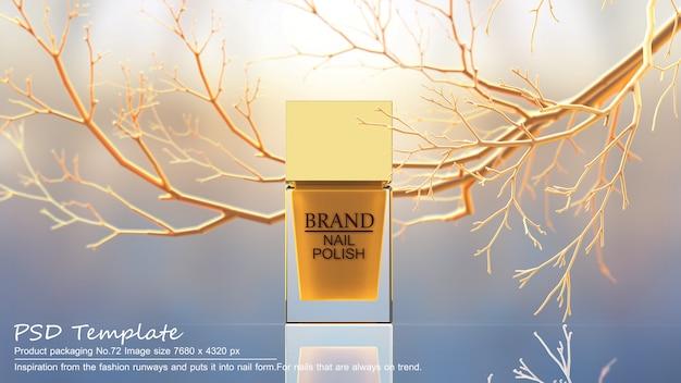 黄色の木の背景に黄色のマニキュア製品3 dレンダリング Premium Psd