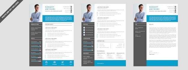 3 pages resume Premium Psd