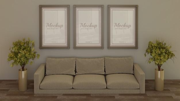 リビングルームのソファの後ろの壁に3フレームのモックアップ Premium Psd