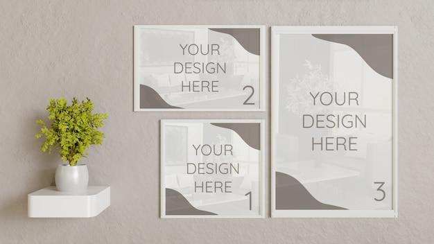 壁に異なるサイズの3つの白いフレームモックアップ Premium Psd