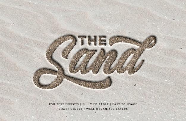 3-й текстовый эффект гравировки на песке Premium Psd