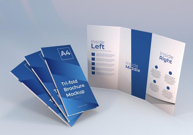 スタンディング3つ折りパンフレットモックアップ Premium Psd