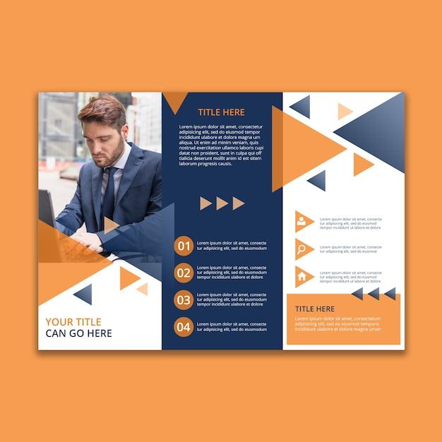 3つ折りの幾何学的なビジネスパンフレットのテンプレート 無料 Psd