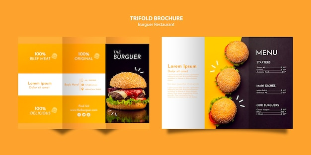 おいしいハンバーガーレストラン3つ折りパンフレット 無料 Psd