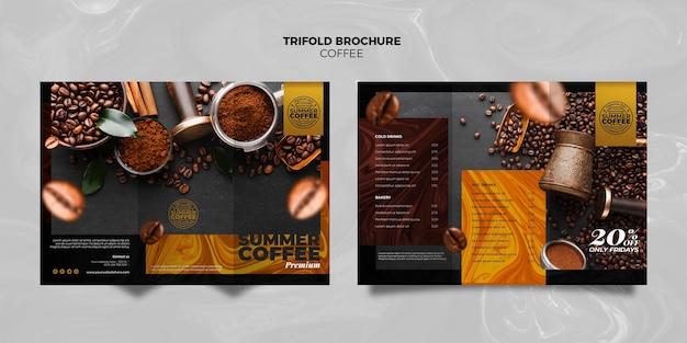 コーヒーショップ3つ折りパンフレットテンプレート 無料 Psd