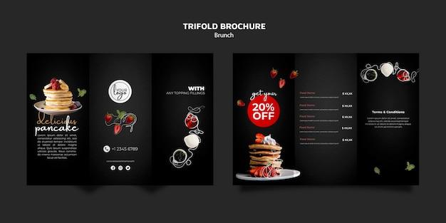 ブランチレストランデザイン3つ折りパンフレットテンプレート 無料 Psd