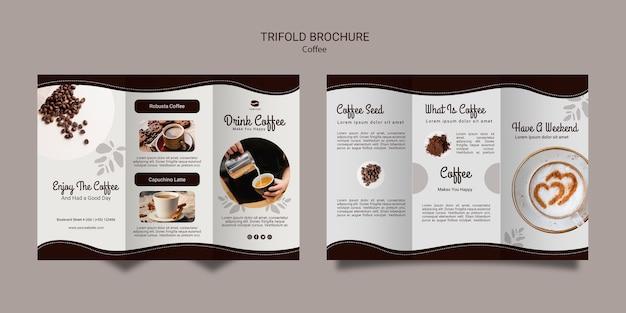 コーヒー3つ折りパンフレットのテンプレート 無料 Psd