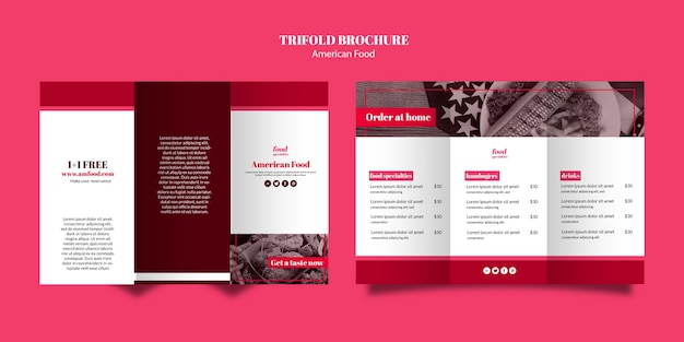 アメリカ料理3つ折りパンフレットのテンプレート 無料 Psd