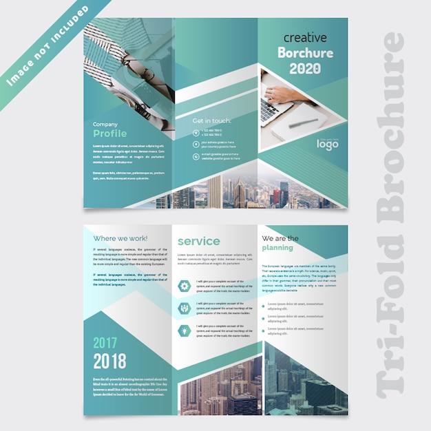 ビジネス抽象3つ折りパンフレットのデザイン Premium Psd