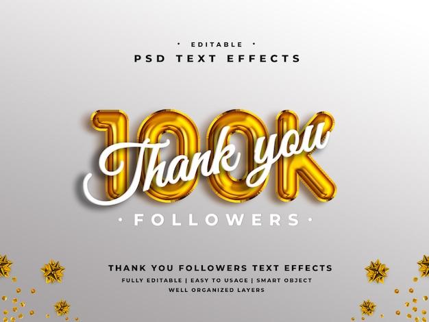 Редактируемый 3d спасибо 100k подписчиков эффект стиля текста Premium Psd