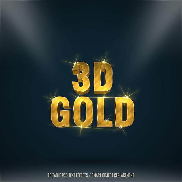 3dゴールドエフェクトの編集可能なテキスト1 Premium Psd