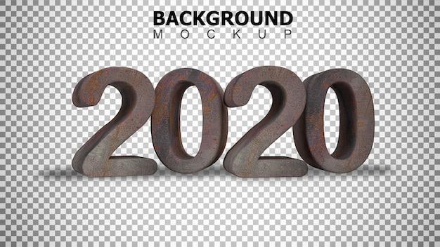 Макет фона для 3d-рендеринга ржавого стального пластика текст 2020 фон Premium Psd