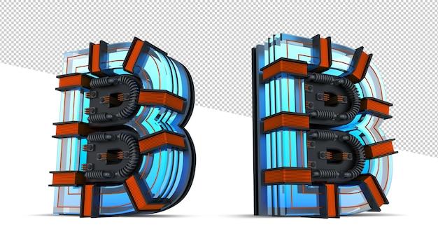 3d алфавит синий неоновый свет с медным проводом Premium Psd