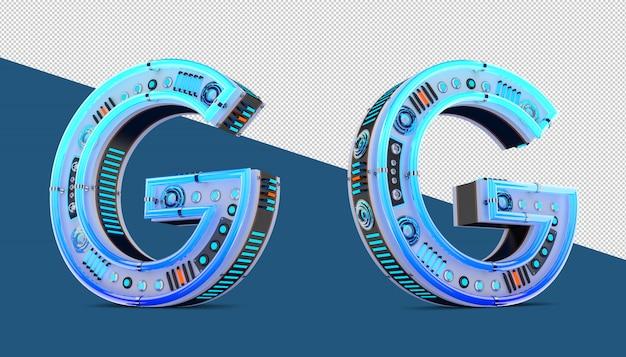 青いネオンとネオンの光の効果を持つ3dアルファベット。 Premium Psd