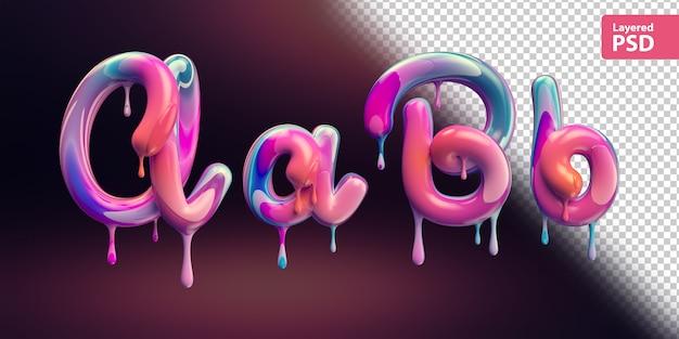 다채로운 페인트 녹는와 3d 알파벳입니다. 편지 A A B B. 프리미엄 PSD 파일