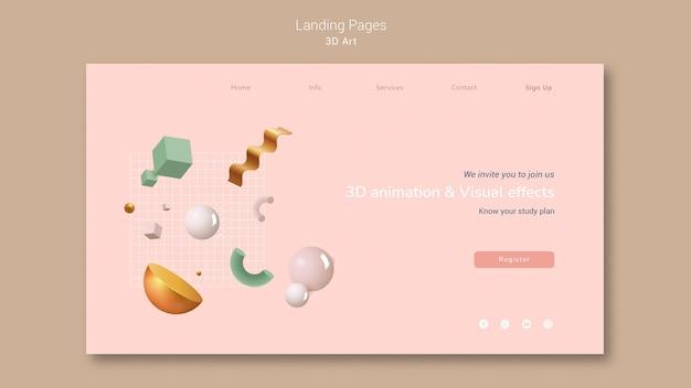 3d art landing page Premium Psd