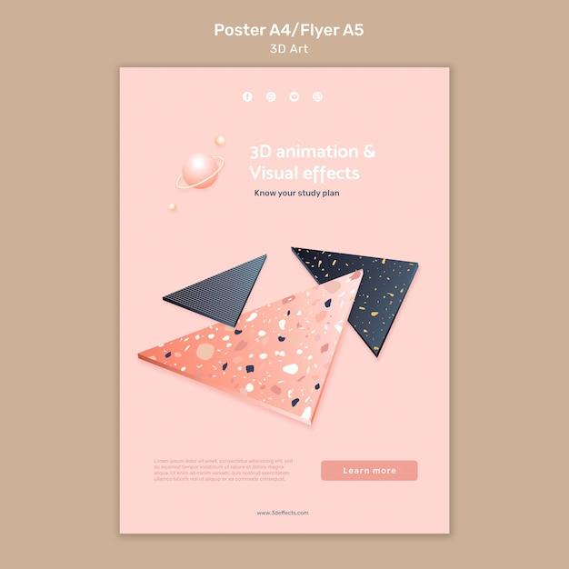 3d арт плакат шаблон Бесплатные Psd