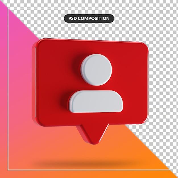 分離された赤いバブルチャットと3dアバターアイコン Premium Psd
