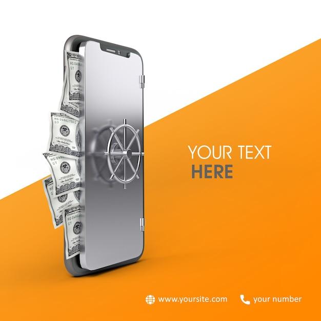3d bank phone Premium Psd