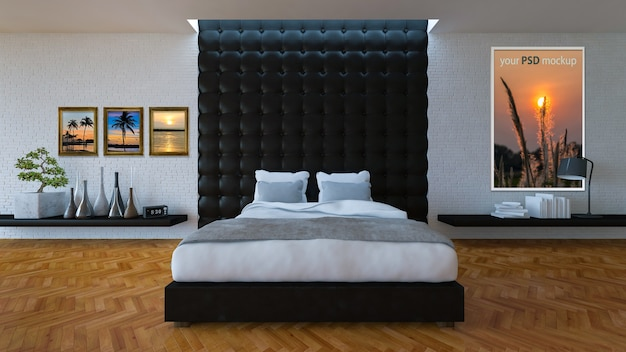 3d bed room with leather wall Premium Psd