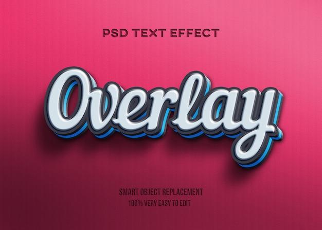 3d черно-синий текстовый эффект наложения Premium Psd