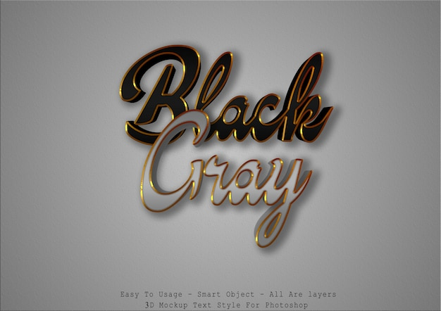 3d black and gray text style effect Premium Psd