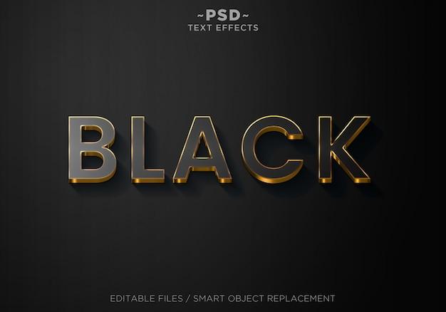 3d black style effects editable text Premium Psd