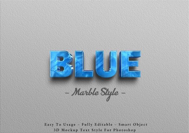 3d синий мраморный текстовый эффект Premium Psd