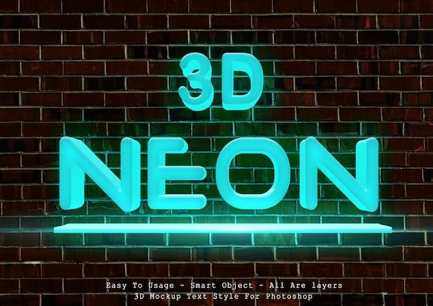 3d blue neon text style Premium Psd