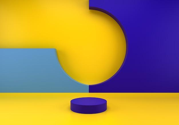 연단 및 최소한의 파란색 벽 장면 3d 블루 렌더링 프리미엄 PSD 파일