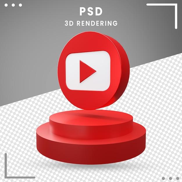 3d青い回転ロゴアイコンyoutube分離 Premium Psd