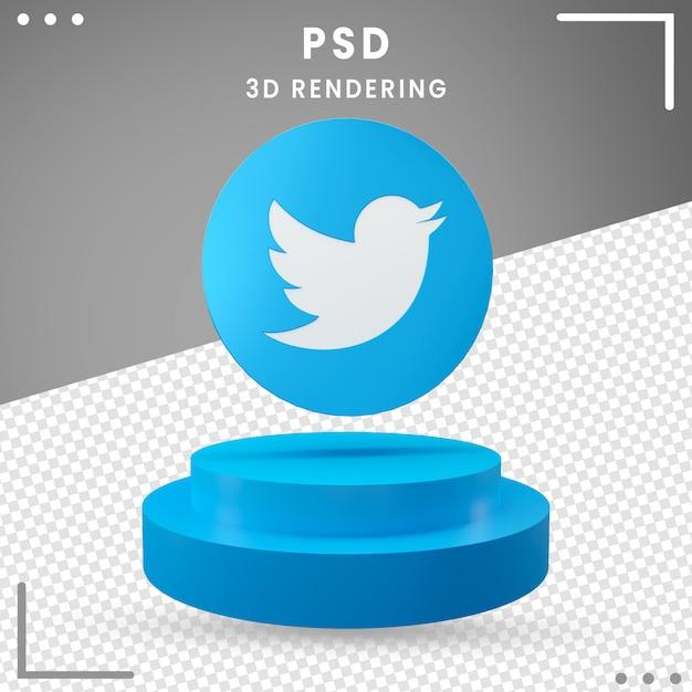 3dブルー回転ロゴtwitter分離 Premium Psd
