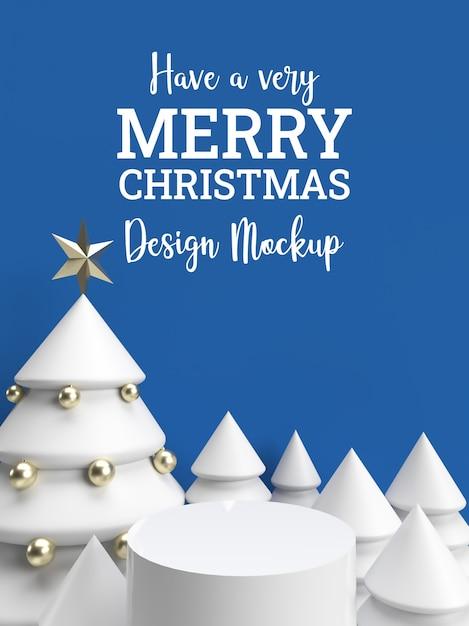 3d blue winter christmas celebration invitation holiday card mockup Premium Psd
