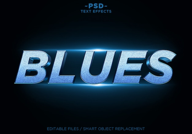 3d blues glitter effects editable text Premium Psd