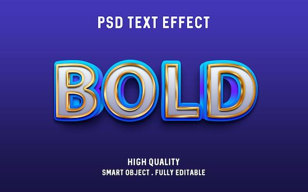 3d жирный синий с золотым контуром эффект текста Premium Psd