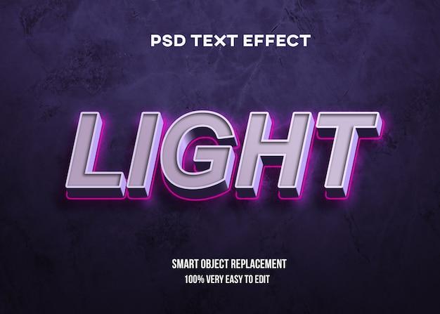 ライトネオンテキスト効果付きの3d太字 Premium Psd