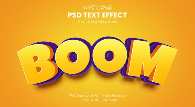 3d boom text style effect template Premium Psd