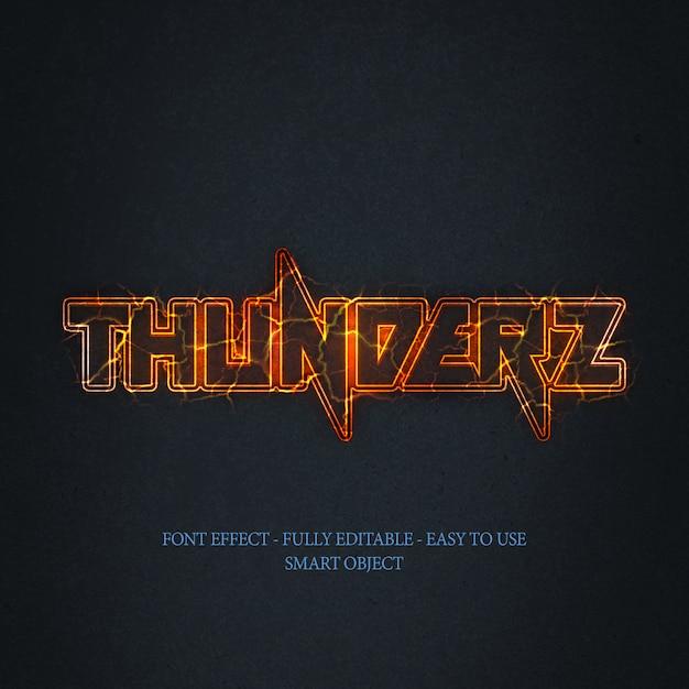 3d bright thunderz text effect Premium Psd