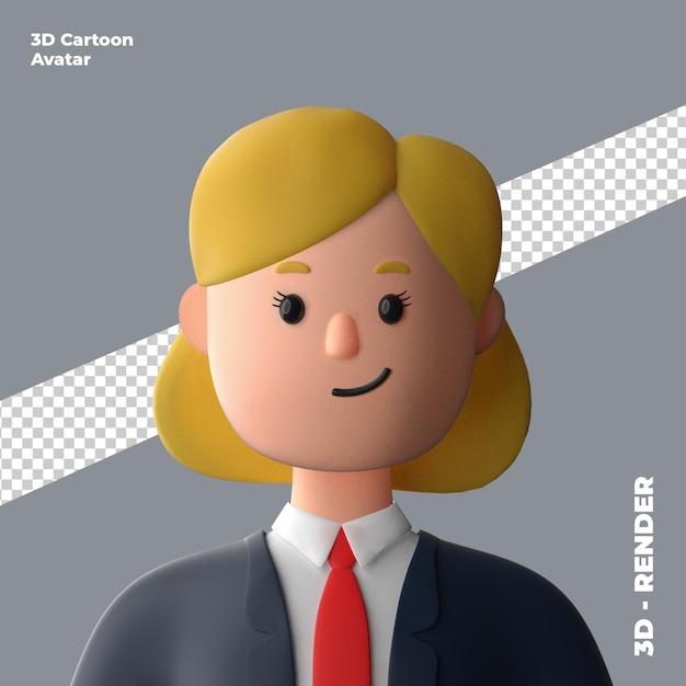 3d cartoon avatar isolated in 3d rendering Premium Psd