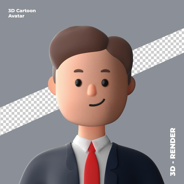 3d cartoon avatar isolated in 3d rendering Premium Psd