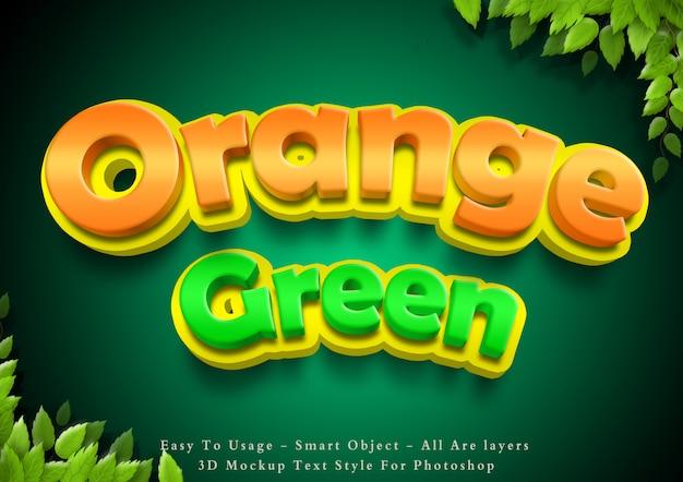 3d cartoon green and orange text style effect Premium Psd