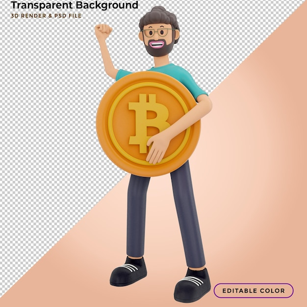 3d character and cryptocurrency. 3d illustration. Premium Psd