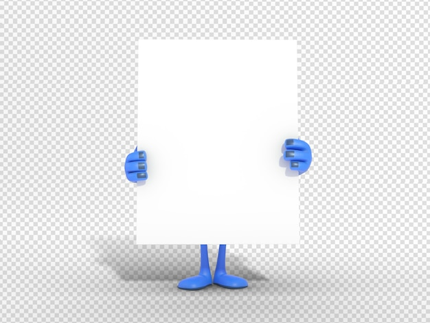 3d character illustration holding blank card for advertisement Premium Psd