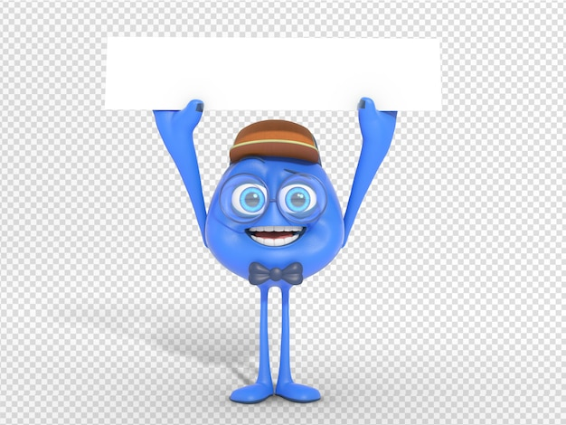 3d character illustration holding blank header banner for advertisement Premium Psd