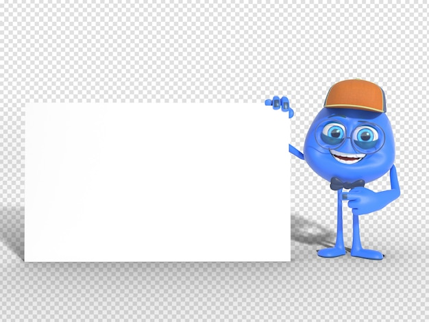 3d character mascot render pointing blank board for advertisement Premium Psd