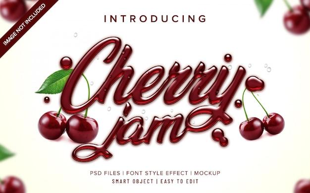 3d cherry jam font style effect template Premium Psd