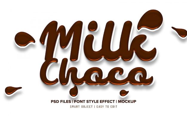 3d chocolate milk liquid text effect Premium Psd