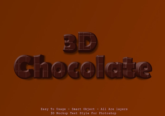 3d chocolate text style effect Premium Psd